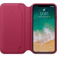 Чехол-книжка Apple Leather Folio для iPhone X (лесная ягода)
