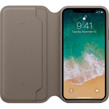 Чехол-книжка Apple Leather Folio для iPhone X (платиново-серый)
