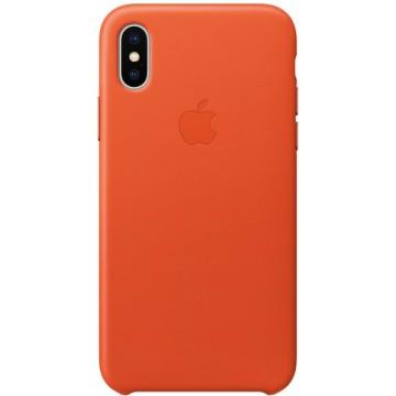 Клип-кейс Apple Leather Case для iPhone X (оранжевый)